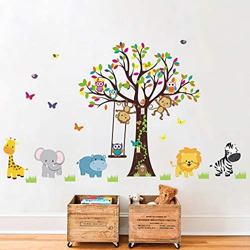 Runtoo Adesivi Murali Animali Foresta Adesivi da Parete Albero Decorazioni Muro Bambini Cameretta Neonato