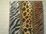 IHR Tovaglioli di carta, motivo: giraffa, Zebra, leopardo, animali africani, confezione da 20, motivo: animali, colore: oro