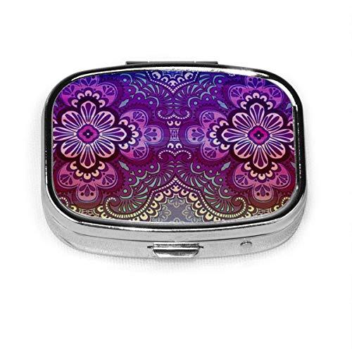 Pastillero: pastillero con compartimentos, pastillero cuadrado, se puede utilizar para monedero, pastillero de viaje púrpura indio Traditi