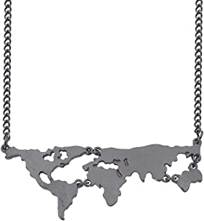 JUESJ Fashion World Map Necklace Seven Continents Combination Necklace,Hollowing Map jigsaw Necklace for Women Girls Comme...