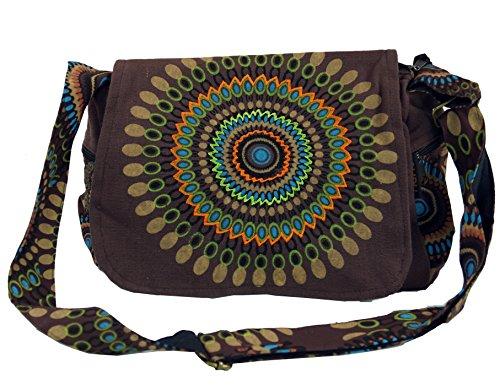 Guru-Shop Schultertasche, Hippie Tasche, Goa Tasche - Braun, Herren/Damen, Baumwolle, Size:One Size, 23x28x12 cm, Alternative Umhängetasche, Handtasche aus Stoff