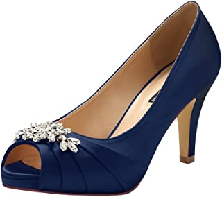 Peep Toe Mid Heels for Woman Rhinestones Satin Evening...