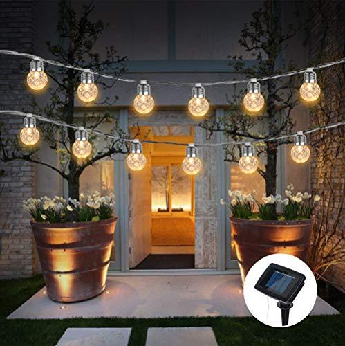 VIVICL Solar Light String Ananas Kugelform Outdoor IP65 wasserdichte Kristallkugel Dekorativ für Garten Terrasse Hof Home Hochzeit Weihnachtsfeiern Warmweiß,10led