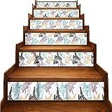 JiuYIBB - Pegatinas removibles para escaleras de acuario, diseño de peces exóticos y conchas marinas