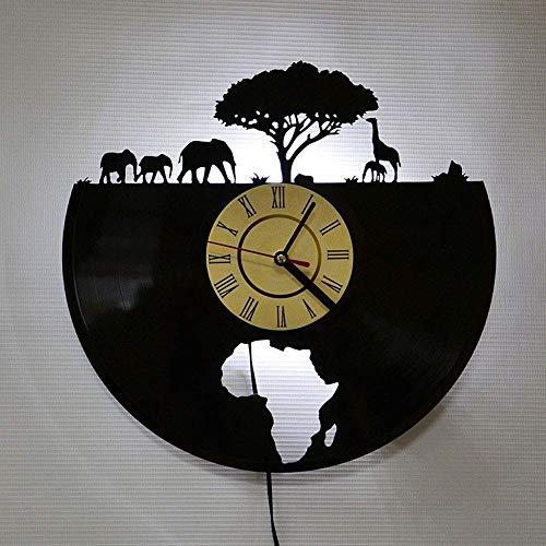 AI-Feson 12 Zoll 30 cm Handgemachte Hauptdekoration Vinyl Leuchtende Uhr Afrikanischer Elefant Tier Grafik Retro Stil Fernbedienung Dimmen Stumm Sportuhr LED Wanddekoration Klassisch Schwarz