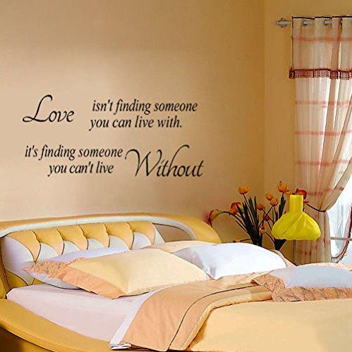 Autocollants humoristiques en PVC avec citation « Love Without Wall » pour chambre à coucher