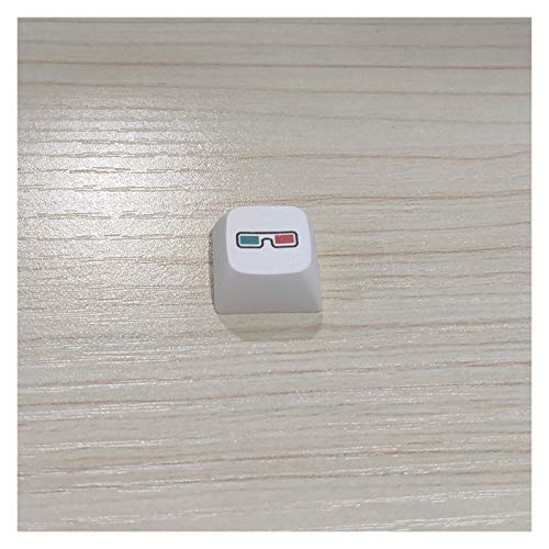 1pc Keycap Old Style Radio Tape Skates CD Retro Game Console Record Pac Man Flat Keycaps for Mechanical Gaming Keyboard (Color : Glasses keycaps)