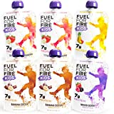 FUEL FOR FIRE FOR KIDS: 6-pack of protein smoothie squeeze pouches in four tasty flavors. Includes 2 Banana Cocoa, 2 Strawberry Banana, 1 Mixed Berry, and 1 Tropical. The Fuel For Fire goodness you know and love, now available in smaller 3.2 oz kid-s...