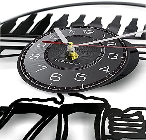tuobaysj Reloj De Pared Vino Disco De Vinilo Reloj De Pared Botella De Vino Saludos Copas De Cerveza Relojes Luminosos Bar Club Bar Arte De La Pared Decoración Luz Led 30X30Cm