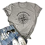 Not All Who Wander are Lost Women Travel T Shirt Workout Shirts Casual Letters Printed Short Sleeves Graphic Tees(Grey M)