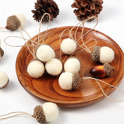 Felt Acorn Ornaments Set of 18 Pieces, Felt Balls Pom Acorn Garland with 32.8 ft Rope for Christmas Tree Mantel Wall Baby Room Nursery Party Vintage Decor (White)