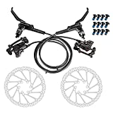 JFOYH Front and Rear Hydraulic Oil Disk Brake Kit with 160mm Floating Disc Rotor, Oil Disk Brake Set for MTB(Left-Rear, Right-Front)