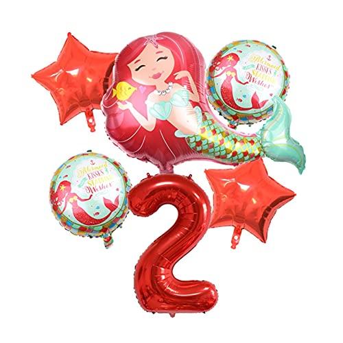 XIAOZSM Globos Globos de lámina de sirpea púrpura roja con número de dígitos de 40 Pulgadas Helio Globo Dibujos Animados Globos Decoraciones de Fiesta de cumpleaños niños o Adultos ( Farbe : Red 2 )