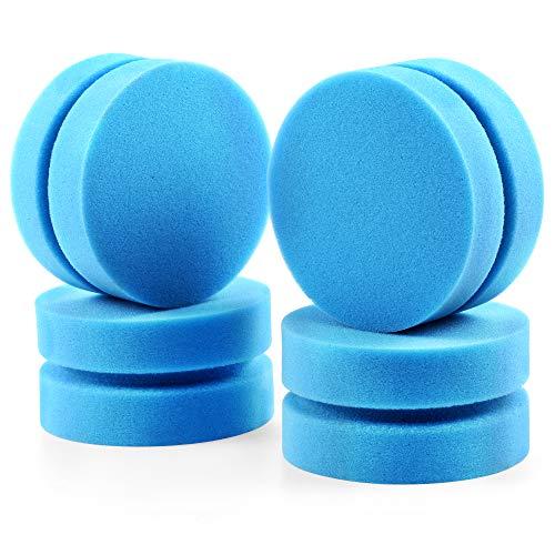 Paquete de 4 aplicadores de esponjas de pintura completo con bolsa de almacenamiento en seco para colgar de malla, circular azul de 3.0 in