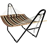 Sunnydaze Double Quilted Fabric Hammock with Multi-Use Universal Steel Stand, Sandy Beach Striped, 2-Person, 450 Pound Capacity