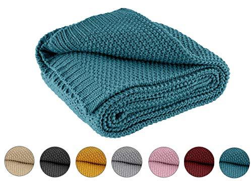 Kuscheldecke Strick 140x190 cm türkis Petrol - Strickdecke OekoTex warme weiche Decke mit edlem und schlichten Strickmuster
