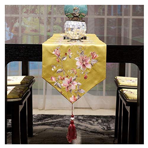 WXIAO Trendy Tafel Runner Prachtige Patroon Gele Stof Decoraties Elegante Catering Event Party Verjaardag Dressoir Sjaals