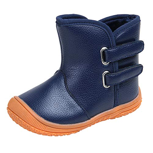 Baby Boys Girls Premium Pu Leather Soft Rubber Sole Plush Warm Outdoor Snow Boots (9-12 Months Infant, Blue)