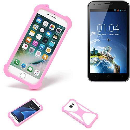 K-S-Trade Handyhülle Kompatibel Mit Kazam Trooper X5.0 Schutzhülle Bumper Silikon Schutz Hülle Cover Case Silikoncase Silikonbumper TPU Softcase Smartphone, Pink (1x)