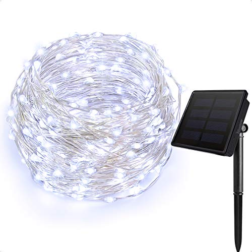 Ankway Solar String Lights 2 Pack 200 LED 8 Modes 72ft/22m 3-Strand Copper Wire Solar Fairy Lights, Auto on Off, Waterproof Outdoor Light for Patio, Garden, Home, Wedding, Pathway, Party (Blue)