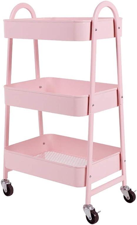 Xwycf Bathroom Shelf Movable Rack Cart Ikea With Wheel Bedroom Kitchen Storage Beauty Multilayer Girls Shock Storage Shelf Color On Amazon De Home Kitchen