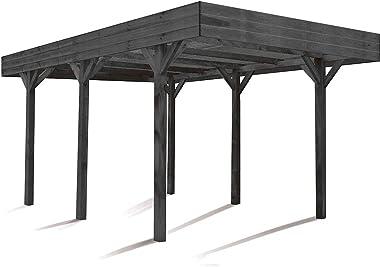 MADEIRA - MADEIRA - Carport 1 voiture bois lasuré gris - Louison