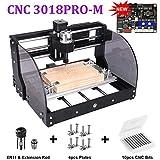 Máquina CNC Máquina CNC 3018 PRO-M GRBL Control CNC Router Kit 3 ejes plástico acrílico PVC Talla de madera Fresado Máquina de grabado con el controlador fuera de línea, Área de trabajo: 300x180x45mm