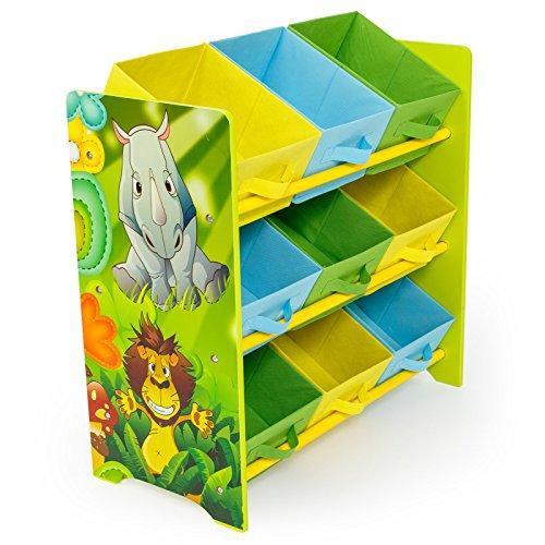 Homestyle4u 1130, Kinderregal mit Aufbewahrungsboxen, Spielzeugregal Bücherregal Kinder, Holz Bunt Dschungel Tiere