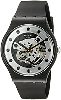 Swatch Unisex SUOZ147 Silver Glam Analog Display Quartz Black Watch