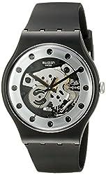 cheap Swatch Unisex SUOZ147 Silver Gram Quartz Black Watch with Analog Display