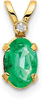 14k Yellow Gold Diamond Green Emerald Birthstone Pendant Charm Necklace May Oval Fine Jewelry Gifts For Women For Her