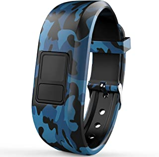 iBREK for Garmin Vivofit jr/jr 2/3 Bands,  Silicon Adjustable Camouflage Replacement Watch Bands for Kids Boys Girls Small Large(No Tracker)