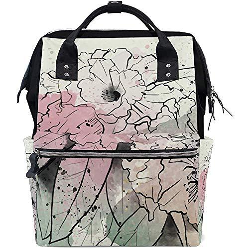 Bernart Weinlese-Rhododendron-Blumen-Windelbeutel-Mama-Einkaufstaschen-großer Kapazitäts-Multifunktionsrucksack für Reise