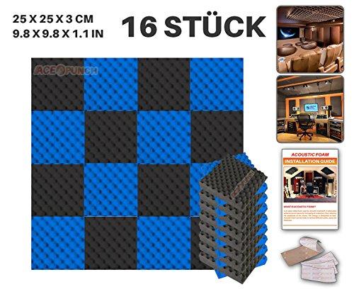 Ace Punch 16 Stuck SCHWARZ UND BLAU Eierkarton Gewellter Noppenschaumstoff Akustikschaumstoff DIY Entwurf Mit Freiem Klebestreifen 25 x 25 x 3 cm AP1052