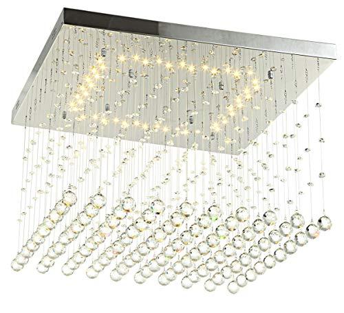 XL 60cm Dimmbar Led Deckenlampe Deckenleuchte Kristall Tröpfchen Lüster Wohnzimmer Lampe Groß WarmWeiß 24W Lewima Dadi