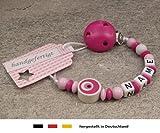 kleinerStorch Baby SCHNULLERKETTE mit Namen - Schnullerhalter mit Wunschnamen - Jungen Motiv Auge von Nazar in pink