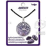 Collar de árbol de la Vida con Colgante Piedra Natural Energeticas - Distintas Piedras Semipreciosas (Amatista)