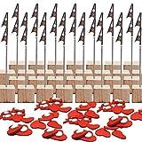 Memo Clip Madera, Senteen 25pcs Porta Notas Pinza Portafotos Pinzas Metal Soporte Para Tarjetas De Mesa Photo Clip Holder, Con Pinza De Cocodrilo y Base De Pino, Para Decoración De Oficina Boda Fiesta