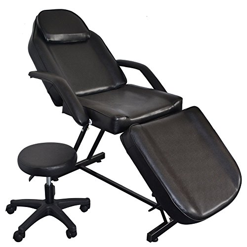 Salon Massage Bed With Stool, 73' Beauty Spa Facial Massage Table Chair, 3-Section Adjustable Tattoo Chairs, Removable Headrest, Facial Cradle, Towel Hanger