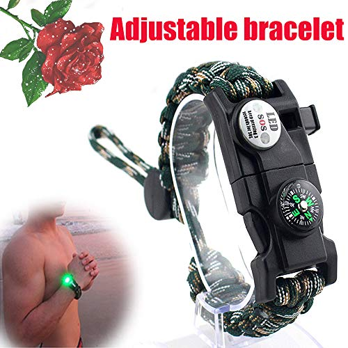AK47Adjustable Paracord Survival Bracelet, 20 in 1, with SOS LED Lights, Compass, Whistle, Phone Pick-up Pin, Flintstones , Tactical Survival Gear Set, Waterproof, Suitable for Men, Women and Children