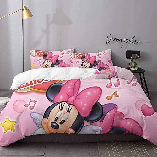 Printed Modern Comforter Cover-3 Pieces Mickey & Minnie Mouse 3D Digital Print Bedding Sets Bedding 3 Piece Duvet Cover Set Queen
