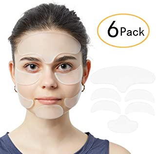 6 Pack Anti Wrinkle Eye Patches with Silicone Face Pad for Women Wrinkles Prevention - 1x Forehead Wrinkle Patches, 1x Chin Wrinkle Patches, 2 x Eye Silicone Pad, 2 x Silicone Anti Wrinkle Facial Pad