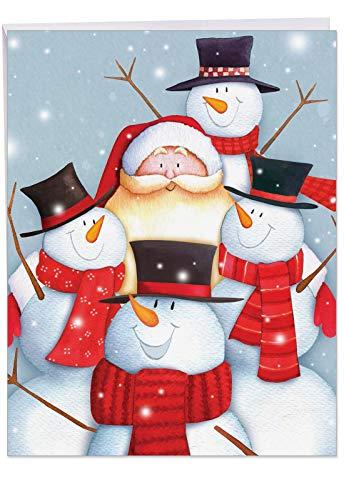 The Best Card Company - Jumbo Christmas Holiday Greeting Card (8.5 x 11 Inch) - Santa Claus & Snowmen, Group Notecard - Santa Selfies J6738HXSG