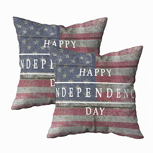Fodera per cuscino, 2 confezioni Fodere per cuscini, Douecilsh Cuscino Morbido divano da casa Sfondo decorativo Carta Bandiera nazionale Stati Uniti Iscrizione America Felice giorno dell'indipendenza