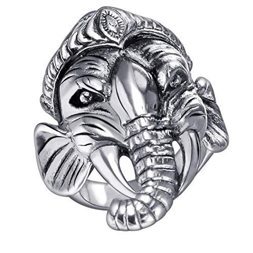 U7 Vintage Stainless Steel Ring God of Fortune Thailand Ganesha Buddha Elephant Ring (Size 12)