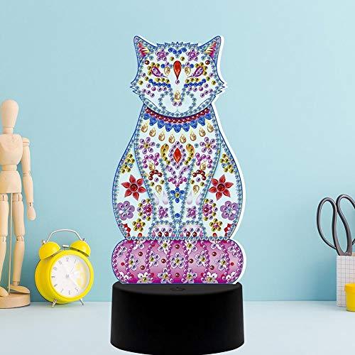 DIY Diamond Painting Lampe mit LED-Leuchten 5D Full Drill Crystal Drawing Kit Nachttisch Nacht Kunsthandwerk für Heimtextilien Geschenke(2)
