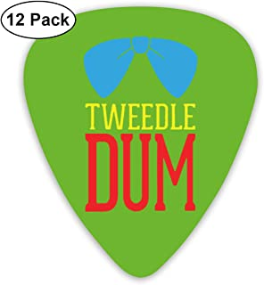 Qbeir 12-Pack Guitar Picks Plectrums 0.46mm / 0.71mm / 0.96mm Tweedle Bow Tie Celluloid for Bass Ukulele