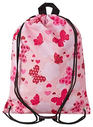 Aminata Kids Schmetterlinge Turnbeutel für Kinder aus Nylon, reflektierend & wasserabweisend - unser Kindergarten Sportbeutel mit Schmetterling-Motiv hat verstärkte Nähte und einen Brustclip