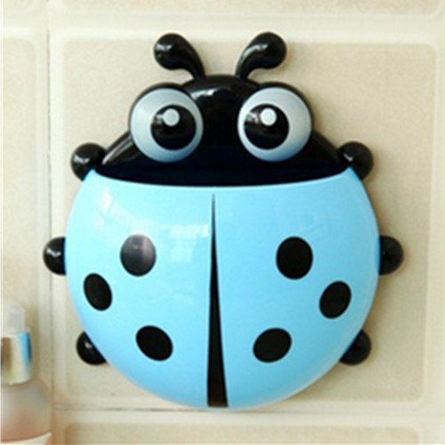 DICOCO Wall Mount Stand Ladybird Toothpaste Toothbrush Holder with Suction Cups (blue)