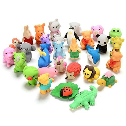 Set von 30 Bleistift Radierer Zoo Animal Kollektion – Kinder-& Valentine 's Day Geschenk Party Favor Künstler Radiergummi – Mehr Spaß, Spielzeug Kids Set